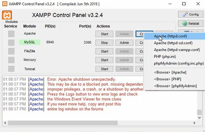 Xampp Apache server httpd file