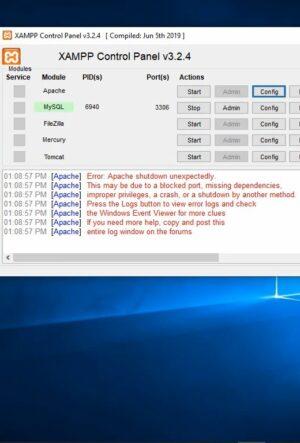 How to fix Xampp apache shutdown unexpectedly.
